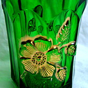 Northwood Glass Eapg 'Gold Rose' tumbler, Emerald green