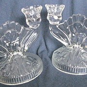 Jeanette Glass Iris and Herringbone candlestick set