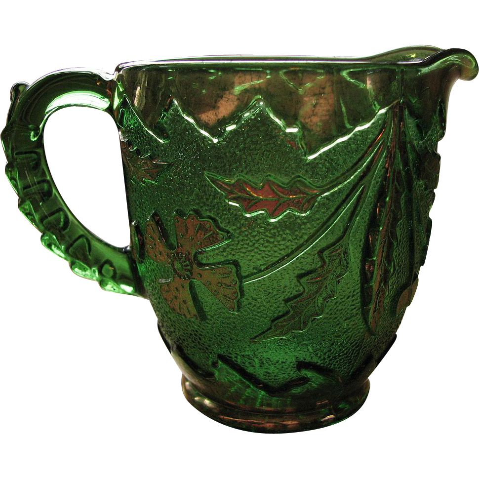 Eapg Delaware pattern Glass creamer, green with gold