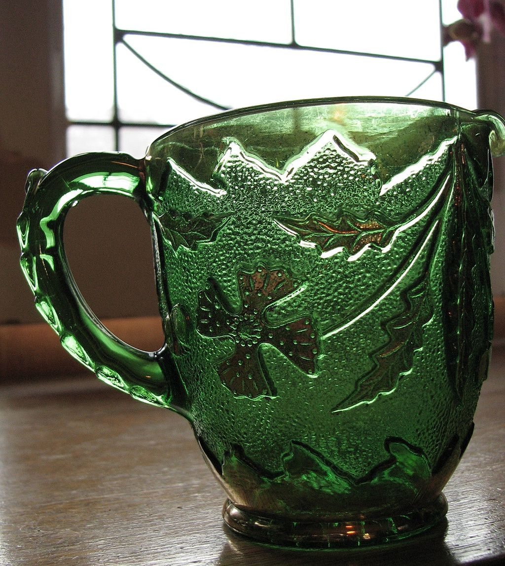 Eapg Delaware Pattern Glass Creamer, Green With Gold From