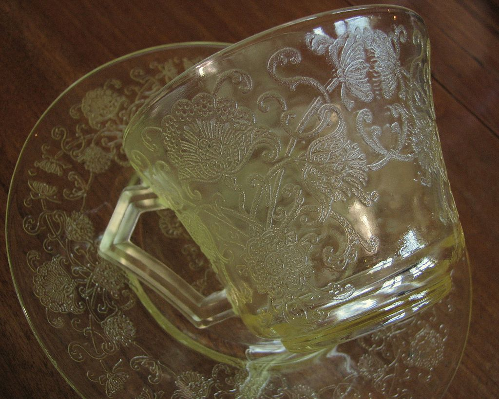 Depression Glass Florentine #2, Yellow cup saucer set, Hazel Atlas