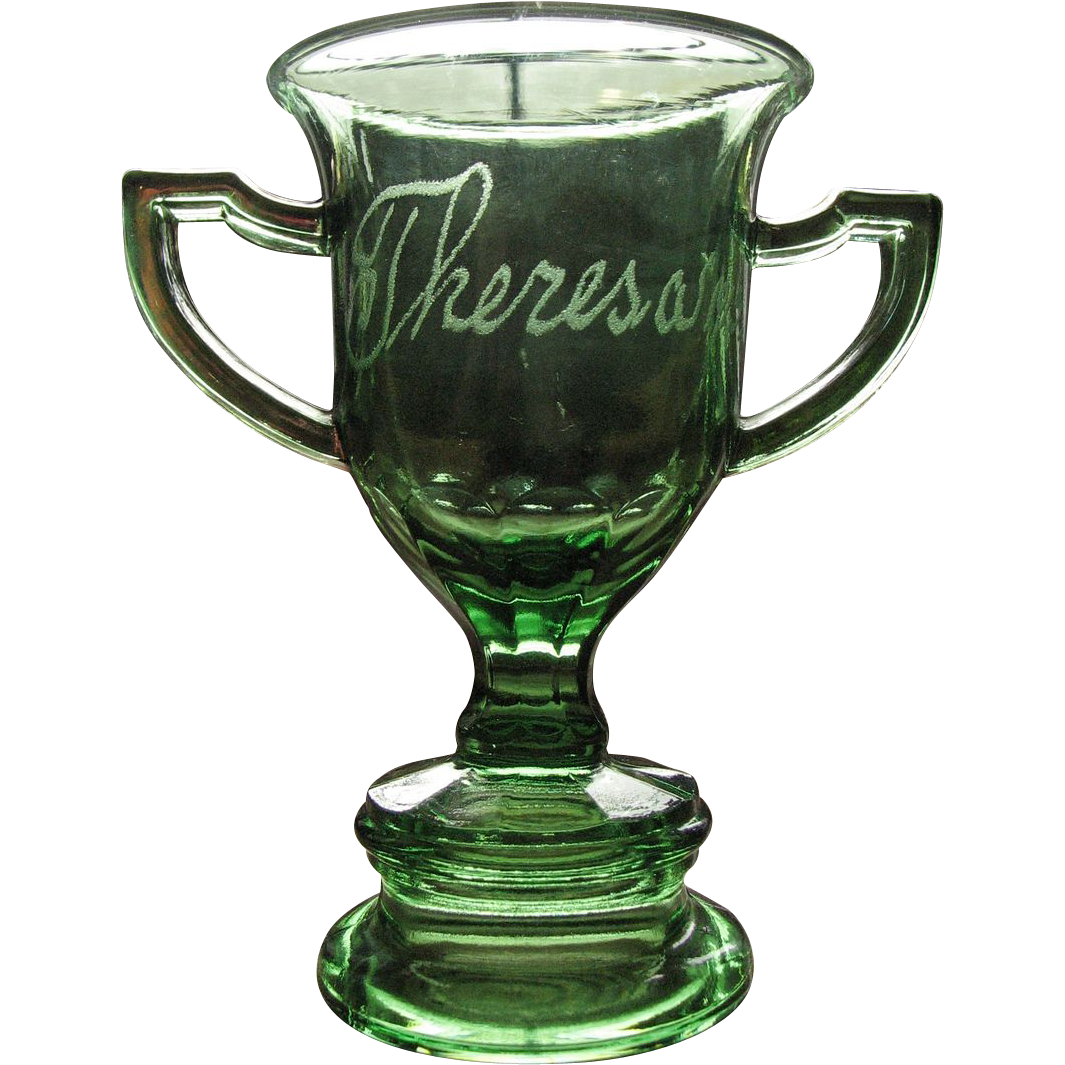 Eapg emerald green toothpick, souvenir, toy glass Loving cup / trophy