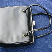 Leather handbag, Vintage purse black