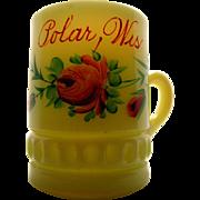Heisey custard glass, 'Punty band' souvenir mug