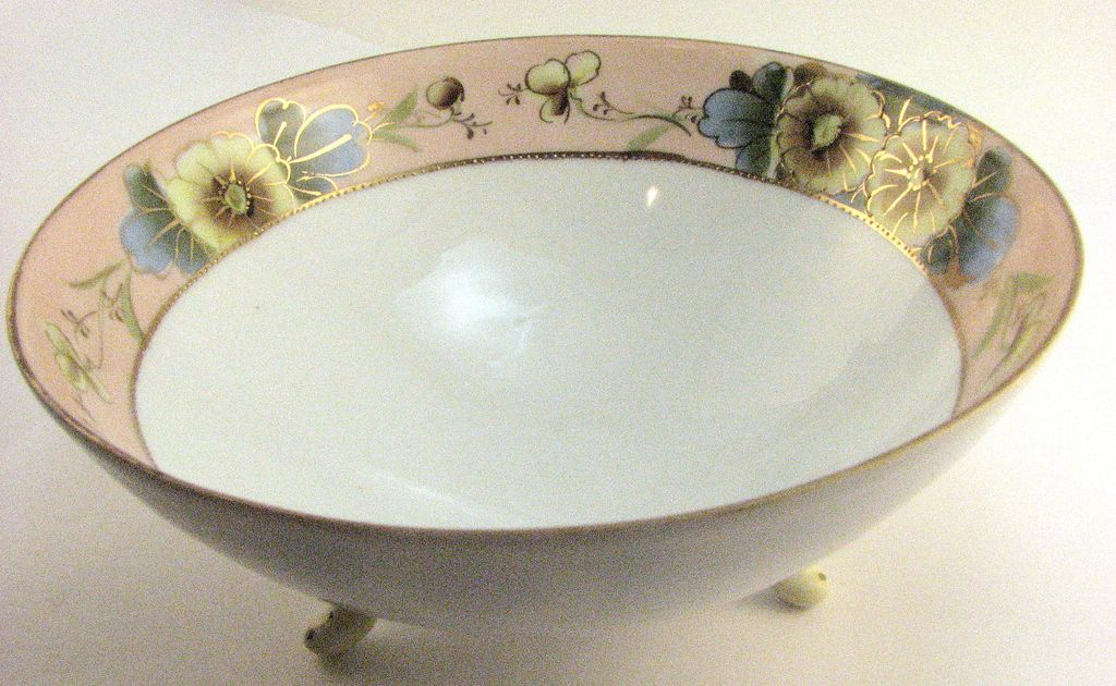 Nippon porcelain hand-painted & moriage footed bowl