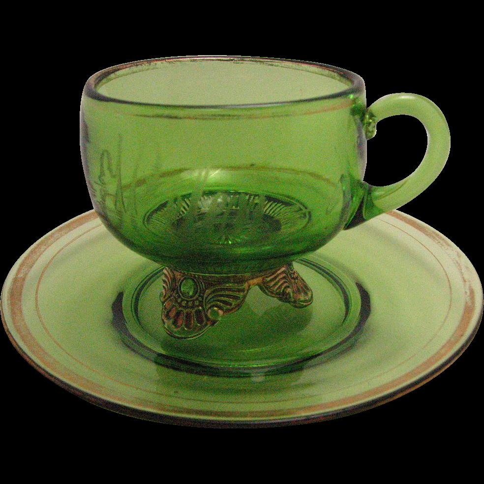 Antique Eapg Green Glass Mug