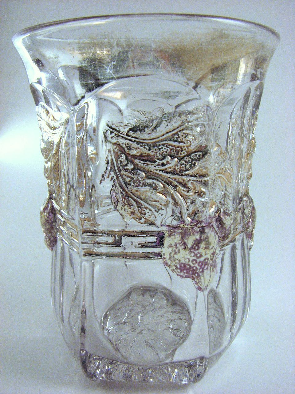 "Ruby-stained ""Paneled Strawberry"" eapg tumbler, Indiana Glass"