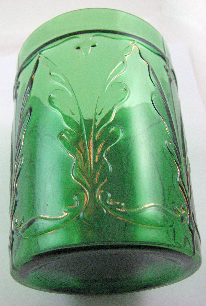 Eapg Dugan Glass, 'Quill' tumbler, Emerald green w gold