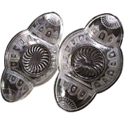 Eapg 'Beaded Band', Victorian relish pair, Burlington Glass