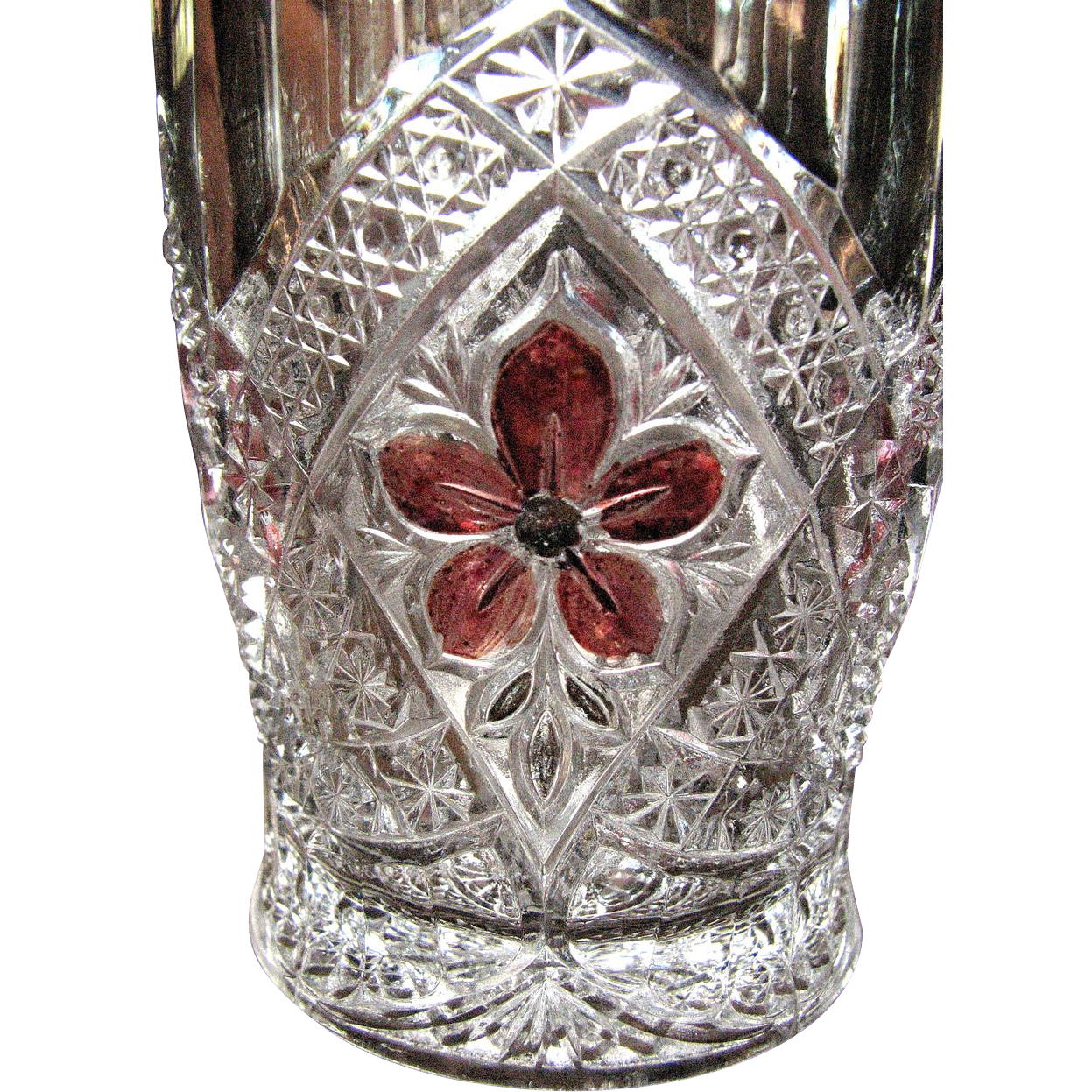 Flower Medallion, Ruby-stained, Indiana Glass tumbler