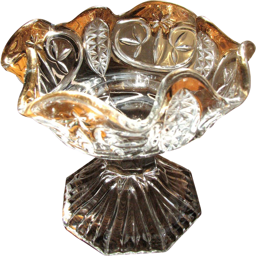 Eapg 'Tobin' pattern glass compote, 'Leaf & Star' New Martinsville