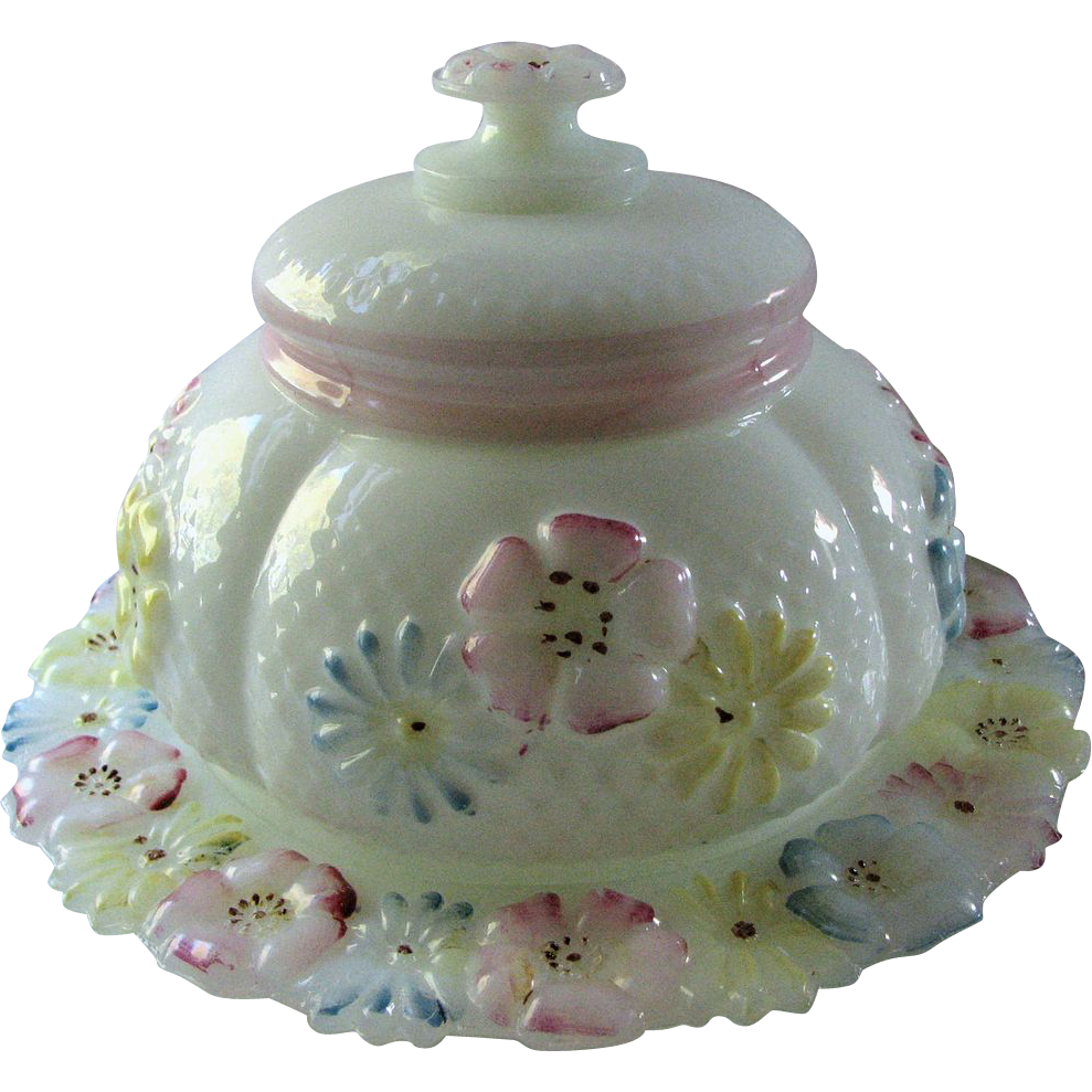 Consolidated Eapg, 'Cosmos' pattern milk glass Antique butter dish