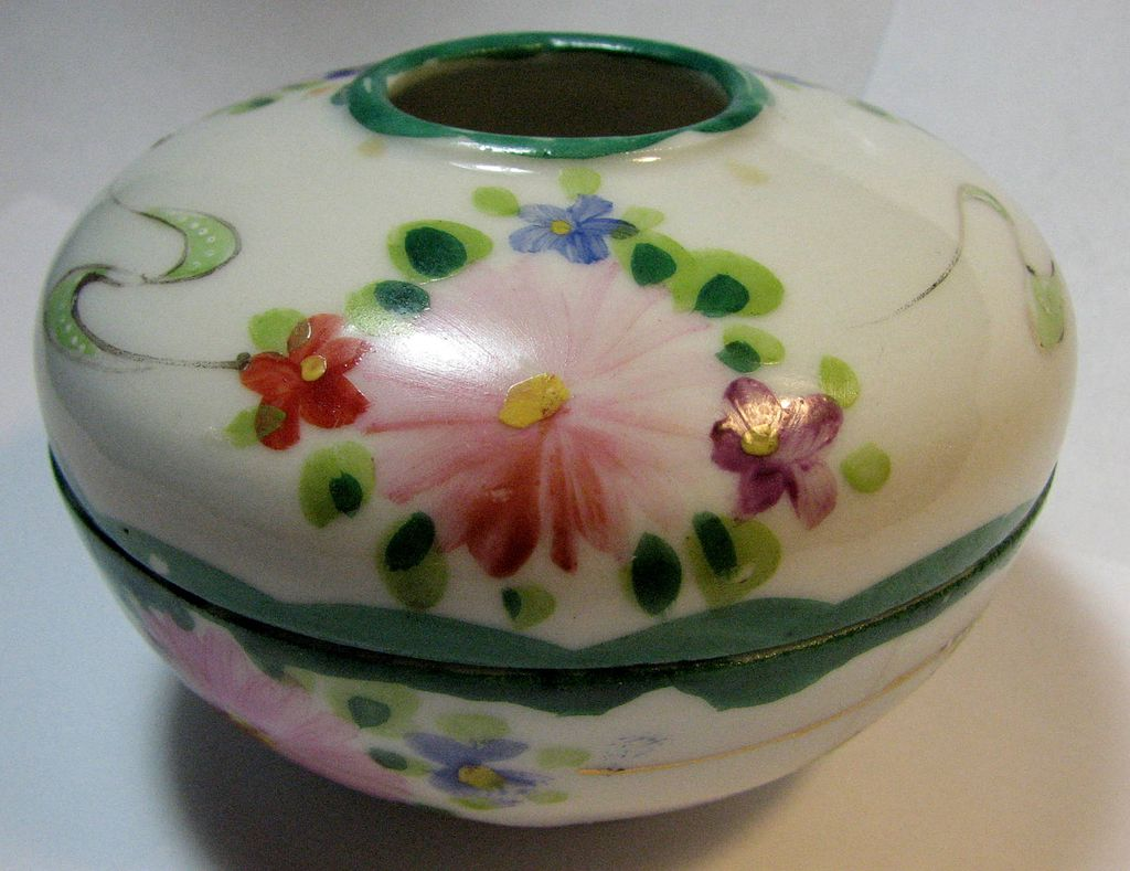 Nippon porcelain Hair receiver, hand-painted Vibrant colors