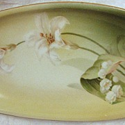 Prussia R.S. Tillowitz antique porcelain, hand-painted Lilies, Germany