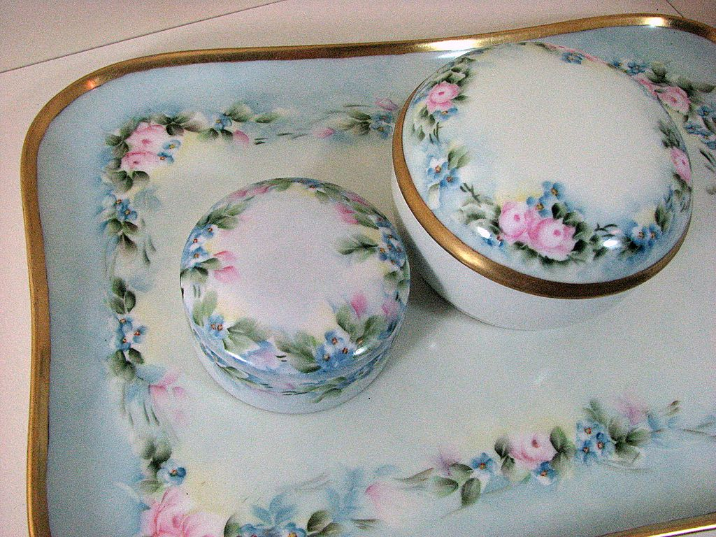 Limoges France, antique Vanity Dresser set, hand-painted porcelain