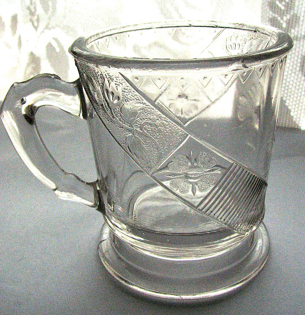 Eapg 'Daisy Pleat' Victorian glass mug