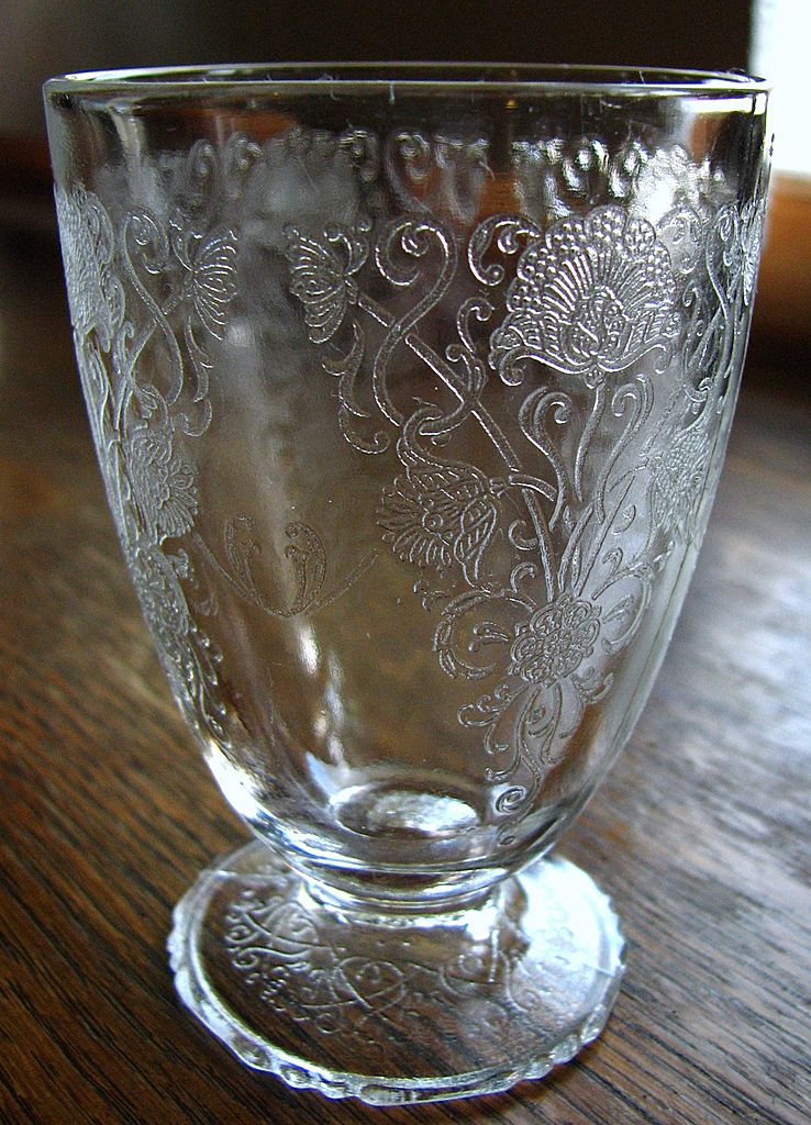Depression Glass Florentine 1 Footed Tumbler Crystal