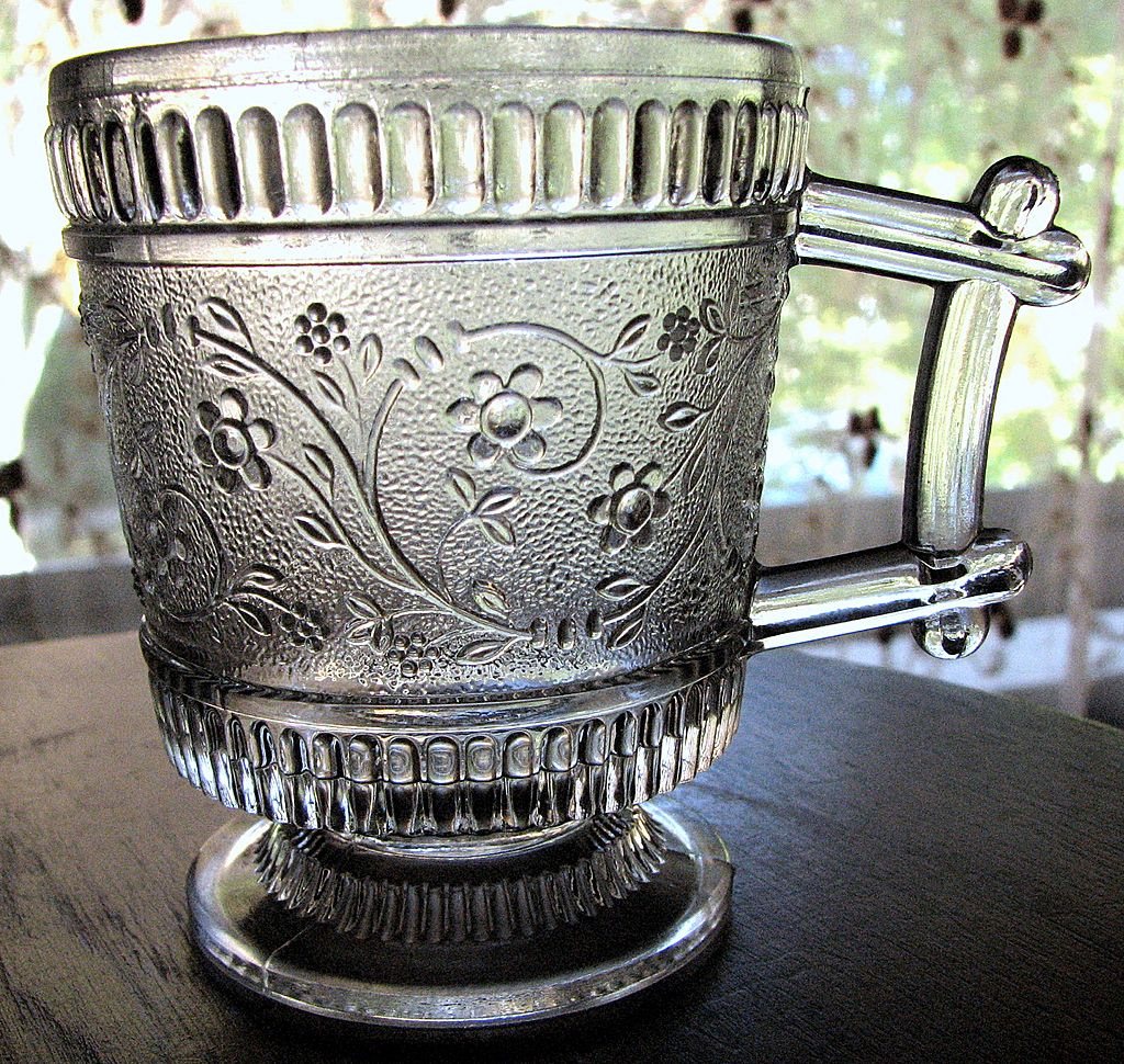 Eapg Victorian Pattern Glass Child's Mug, 'Ribbed Forget