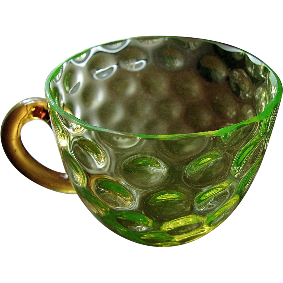 Victorian art glass canary with amber, thumbprint optic punch cup