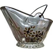Victorian glass novelty coal bucket souvenir, hand-painted