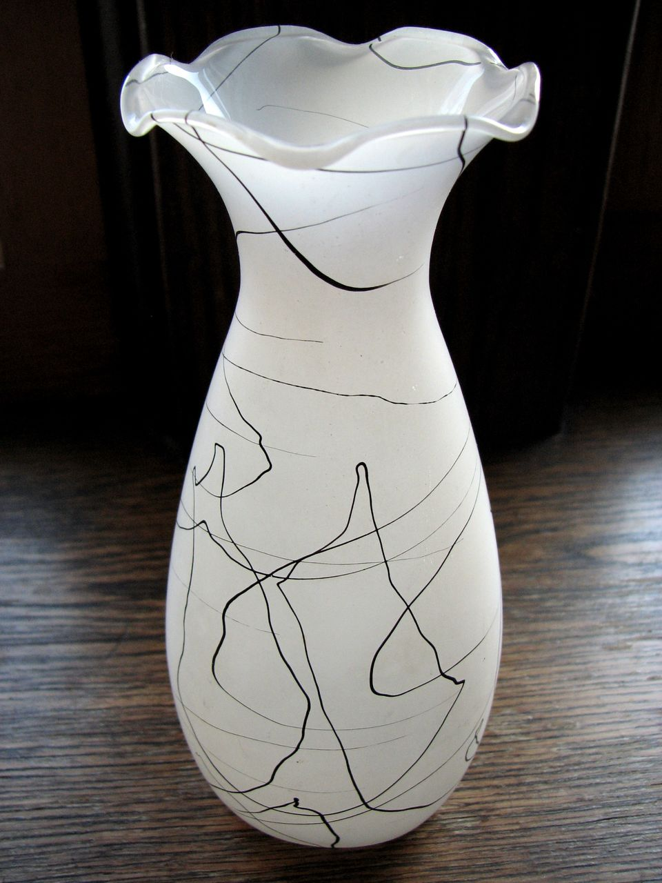Vintage Hazel Atlas 'Drizzle String' frosted Vase, Retro black & white