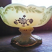 Northwood intaglio pattern, custard glass berry bowl
