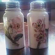 Antique Victorian art glass salt pepper shaker set
