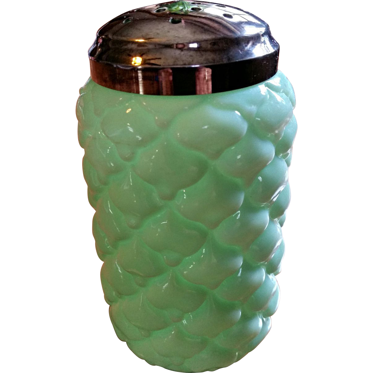 """""""Cone"""" pattern, Consolidated Lamp and Glass Co. Sugar shaker"""