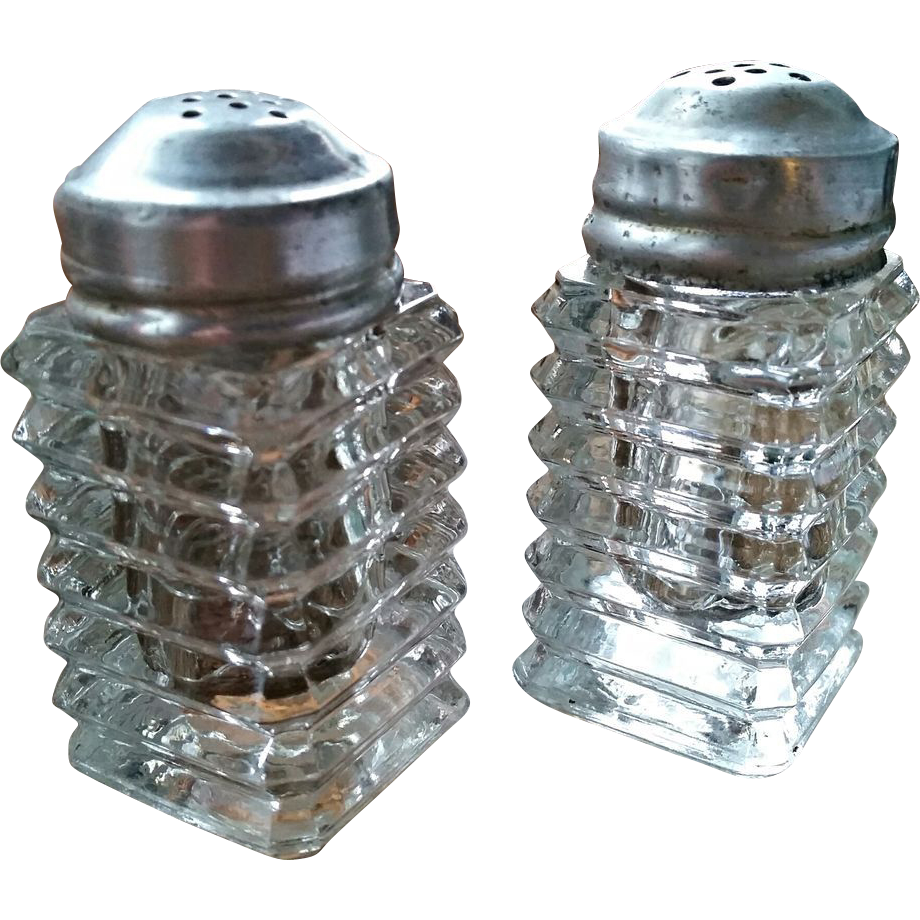 Manhattan Depression glass salt & pepper shaker set, Anchor Hocking