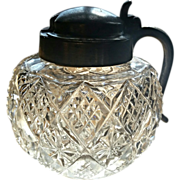 Eapg, mustard pot, jar, condiment, pattern glass