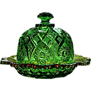 Northwood eapg Near Cut, pattern #12, covered butter dish, emerald green