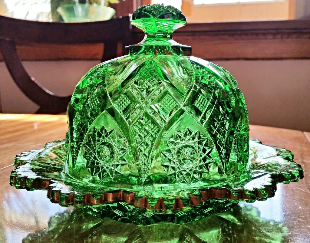 Rim Shops Near Me >> Northwood eapg Near Cut, pattern #12, covered butter dish, emerald from oldndazetreasures on ...