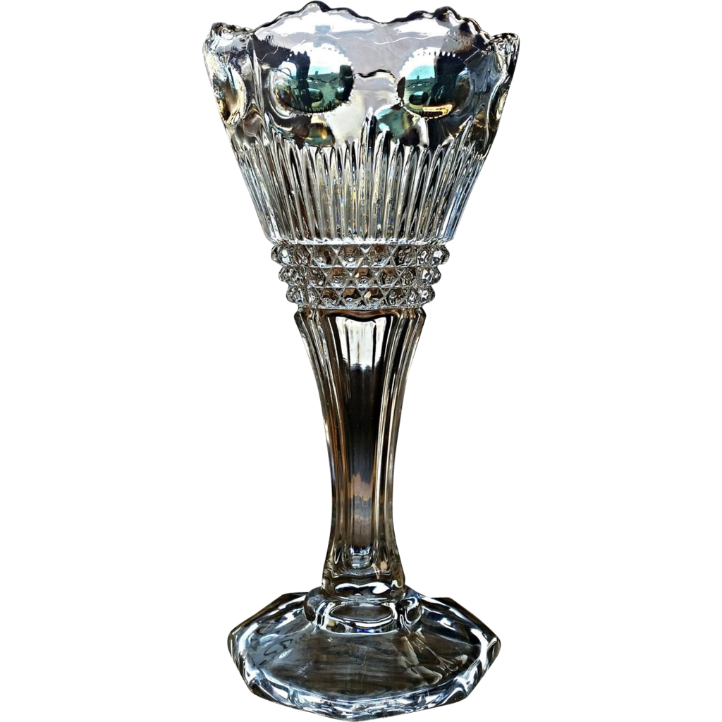 Eapg Manhattan pattern vase, U.S. Glass Co. 1902