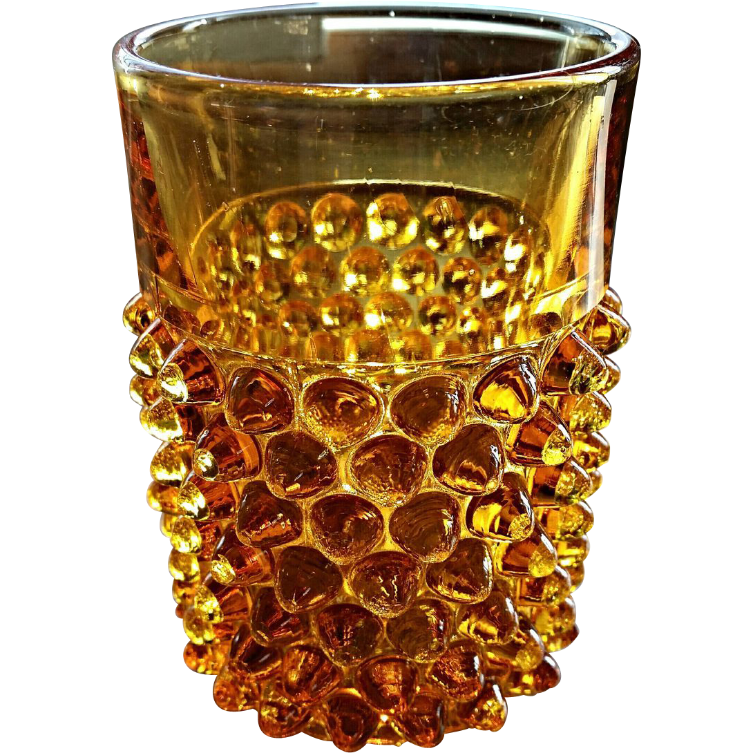 Doyle Hobnail tumbler, Amber, Victorian glass