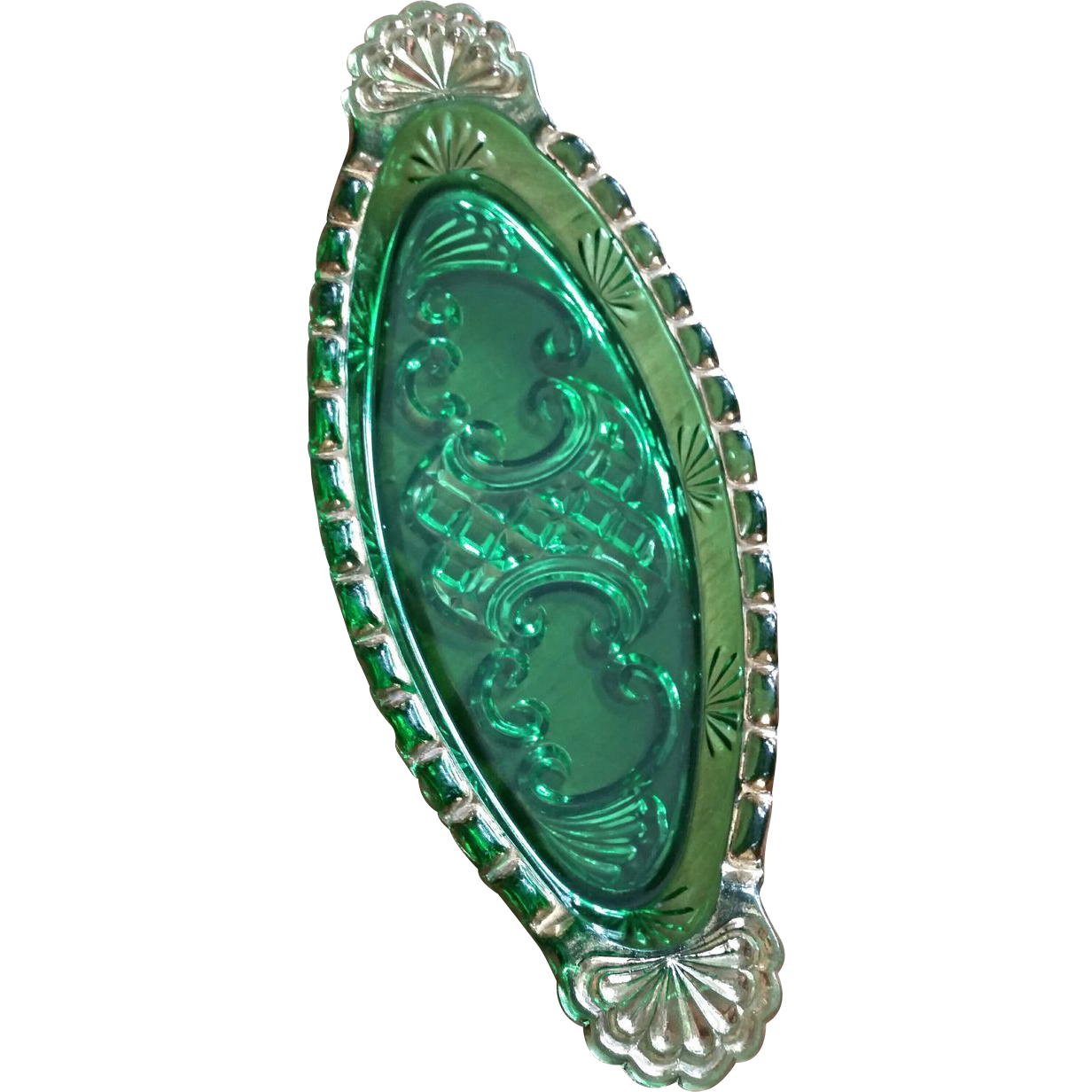 Croesus eapg Riverside Glass, emerald green pickle dish