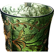 Eapg, Floradora pattern glass spooner, Bohemian, U.S. Glass