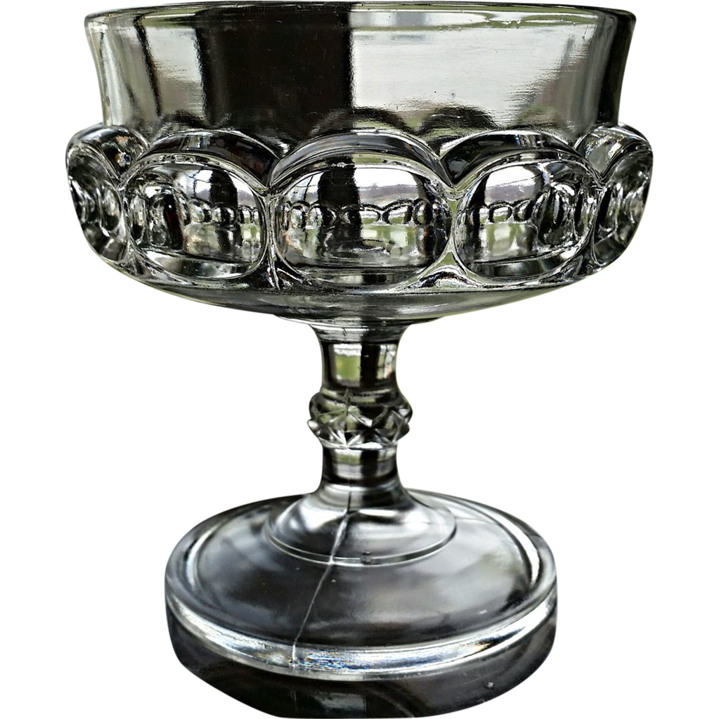 "Victorian glass, Doyle ""Eyebrows"" pattern compote, ""Pressed Block"""