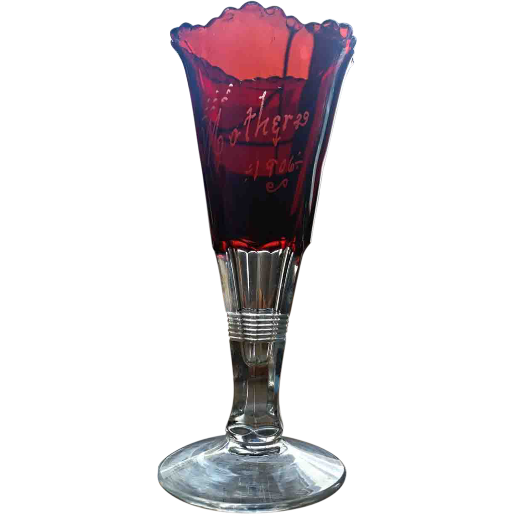 Ruby stained vase, etched Mother 1906, eapg