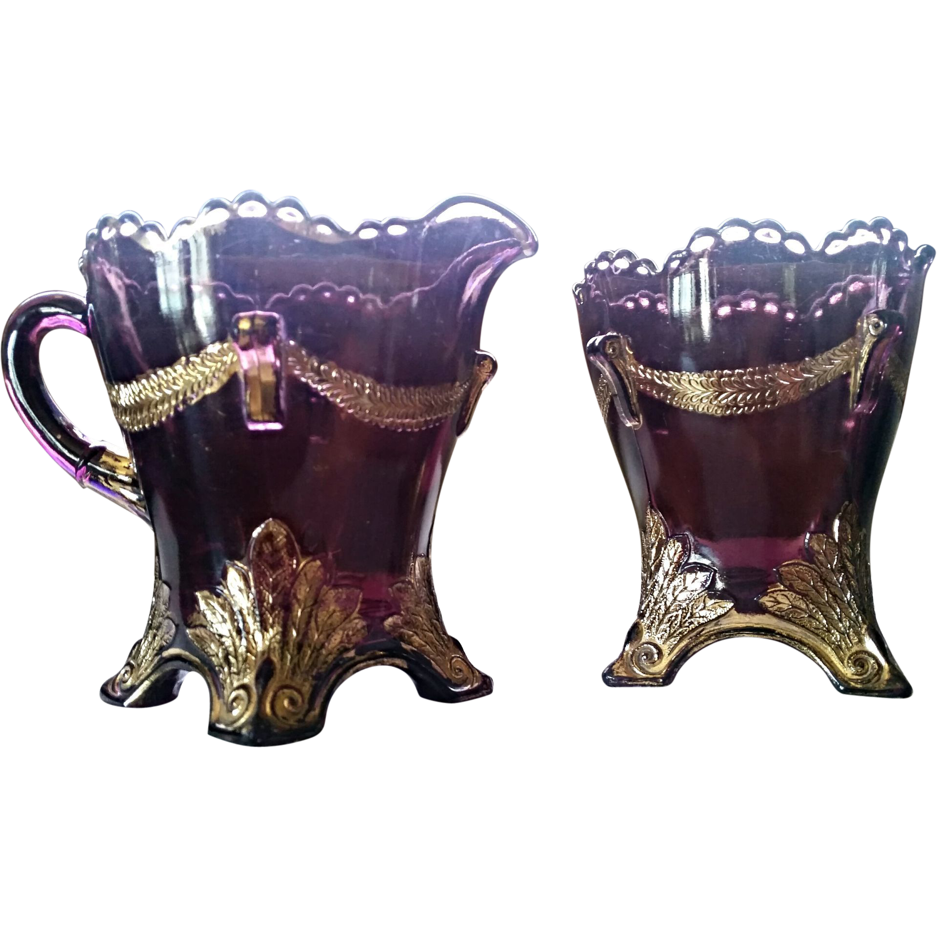 """Swag with Brackets"" amethyst, Jefferson Glass creamer & spooner"
