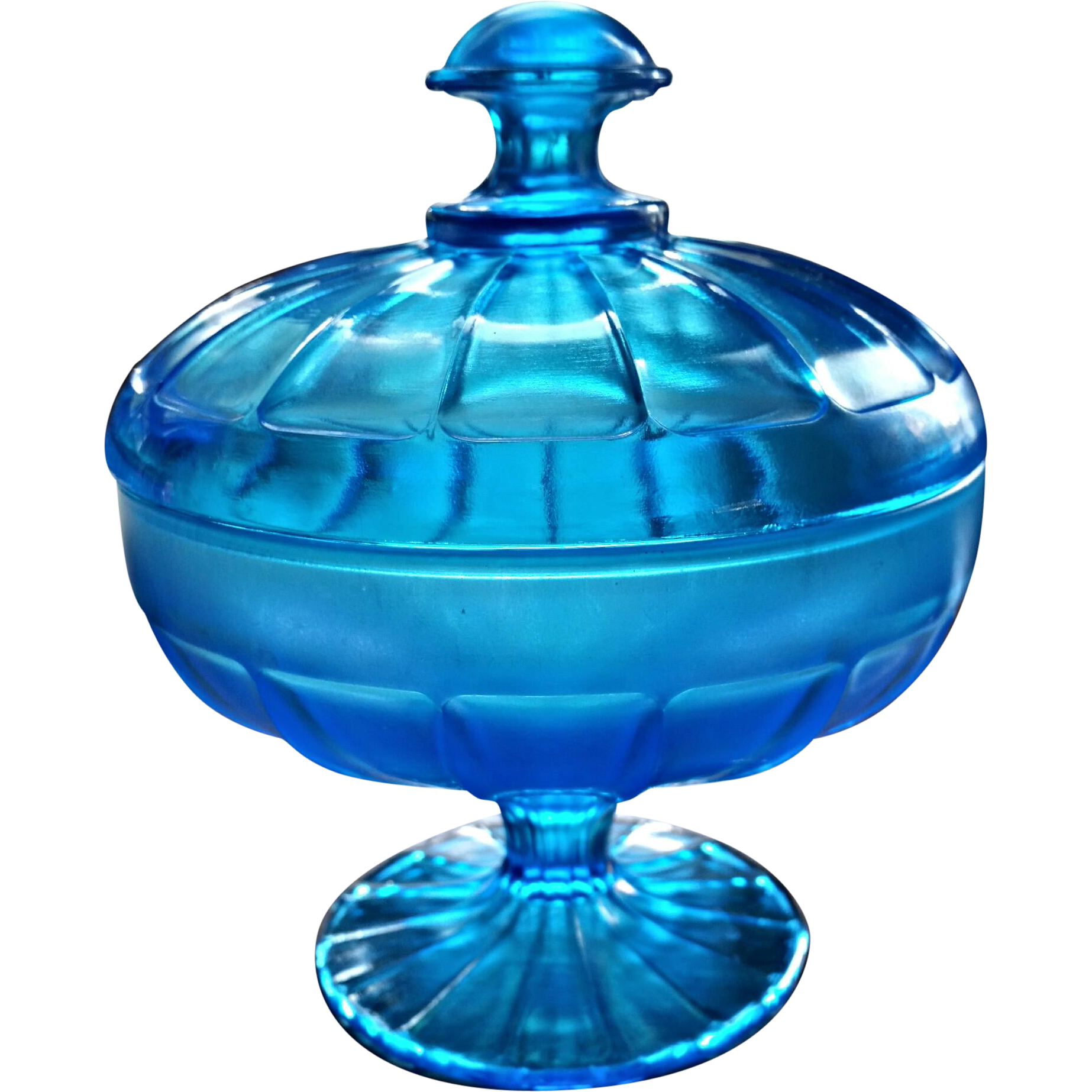Celeste Blue Northwood stretch glass #643 line compote, bon-bon