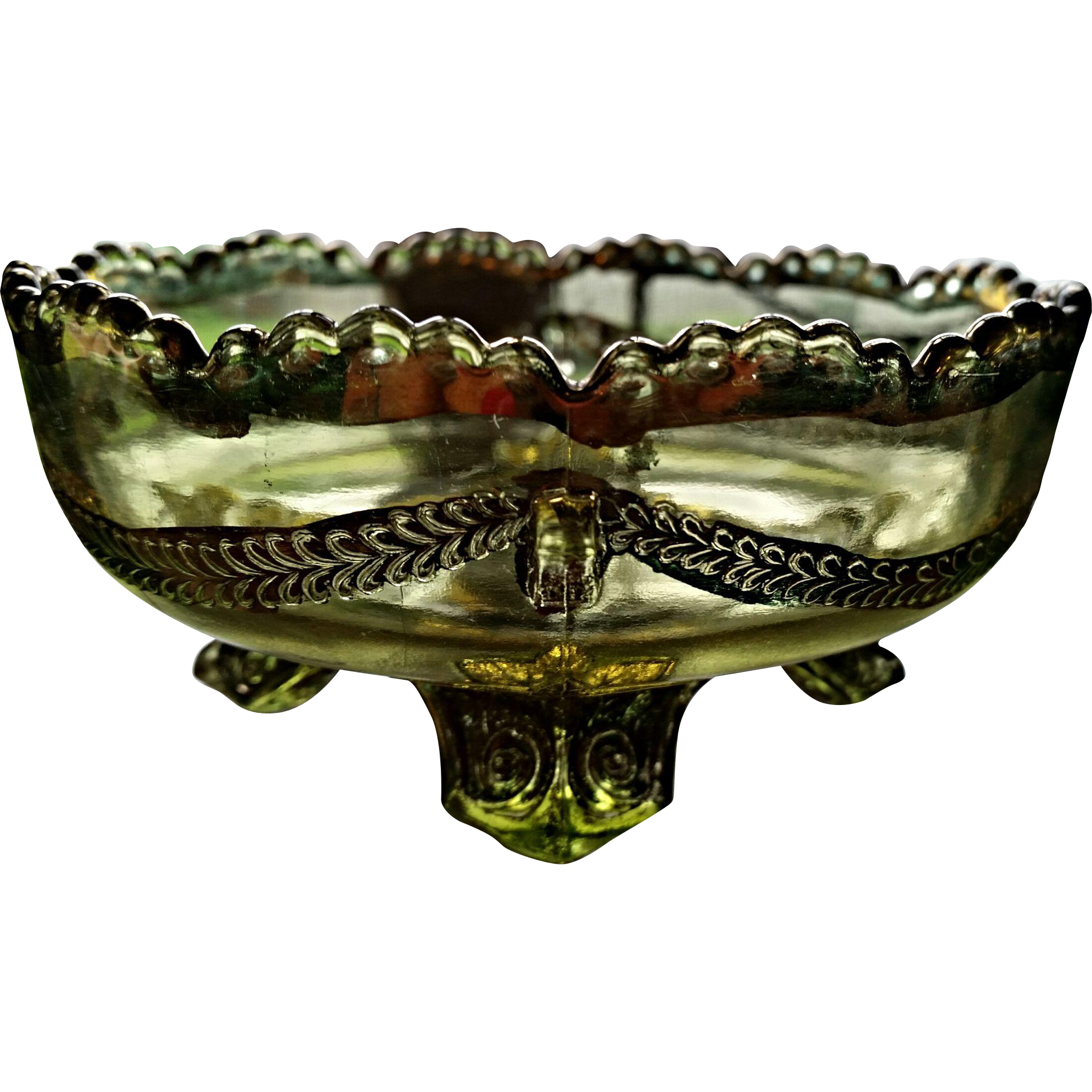 Swag with Brackets, Jefferson Glass, Berry bowl set/2, very scarce light green