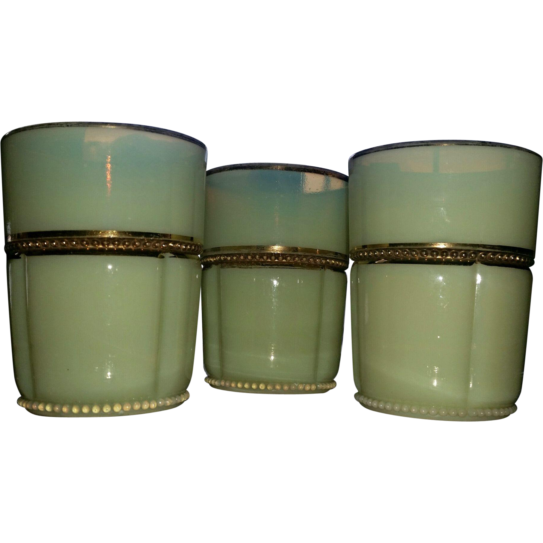 Georgia Gem, Tarentum eapg custard glass tumblers, set of 3