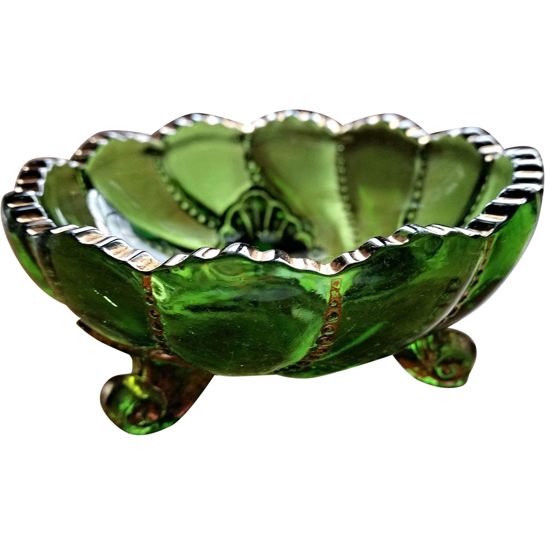 Beaded Swirl eapg green berry bowl, Duncan & Sons