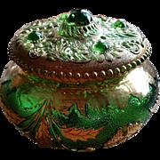 "Eapg ""Delaware"" pattern dresser jar, puff box, U.S. Glass"
