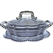 Lorne pattern glass butter dish, Bryce Brothers