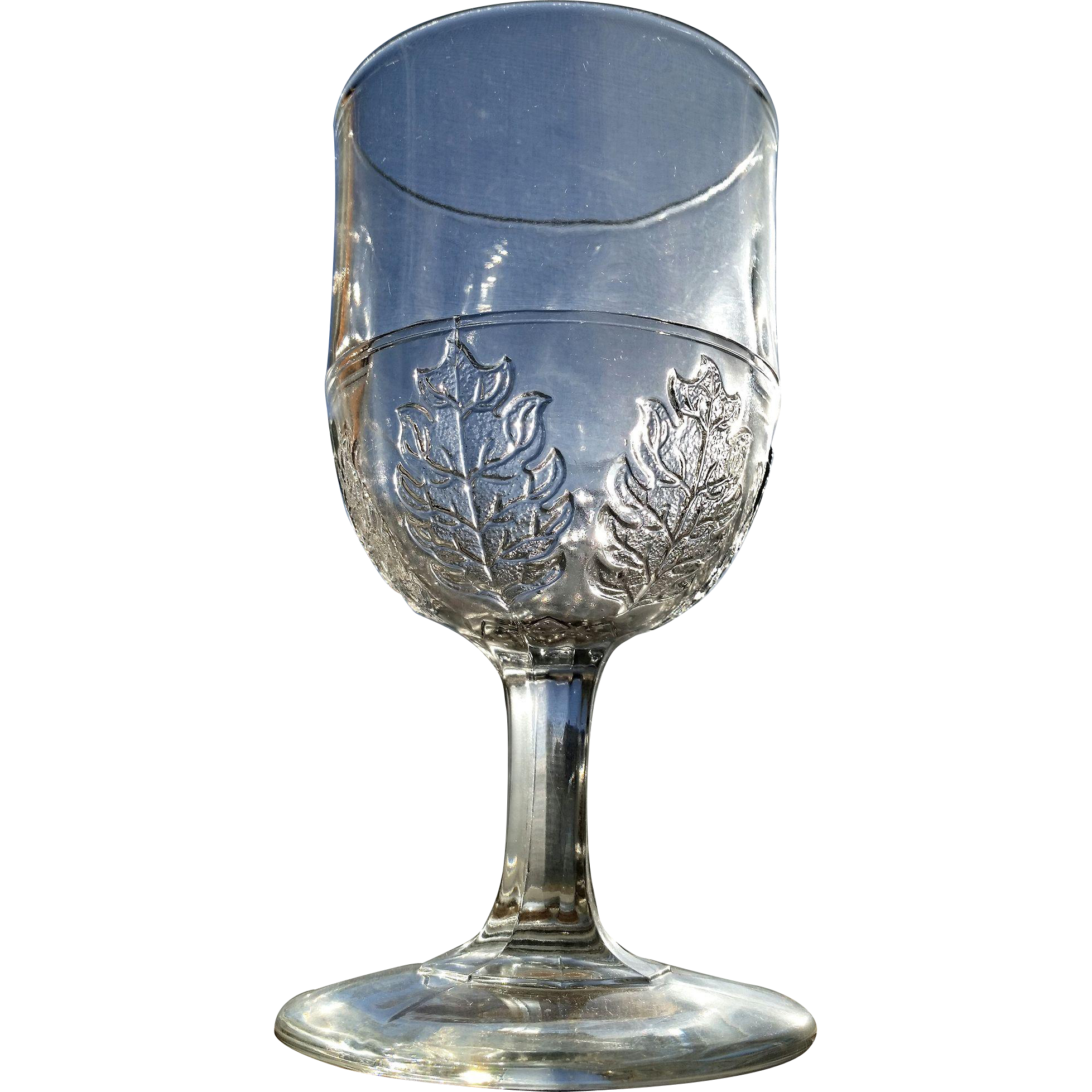 Pressed Leaf, McKee Glass goblet