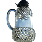 Victorian glass syrup pitcher, diamond panels