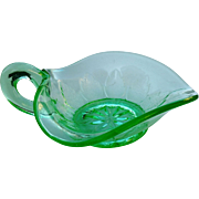 """Leaf Ray"" Dugan Vaseline glass nappy bowl"