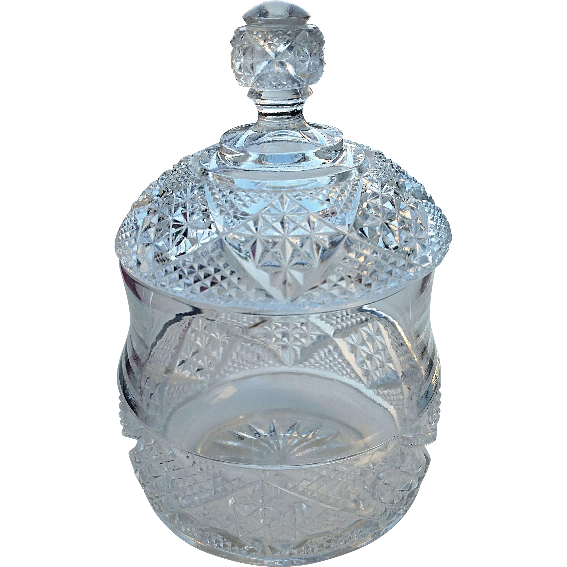 "Heisey Glass ""Cut Block"", #1200, Crystal clear covered sugar bowl"