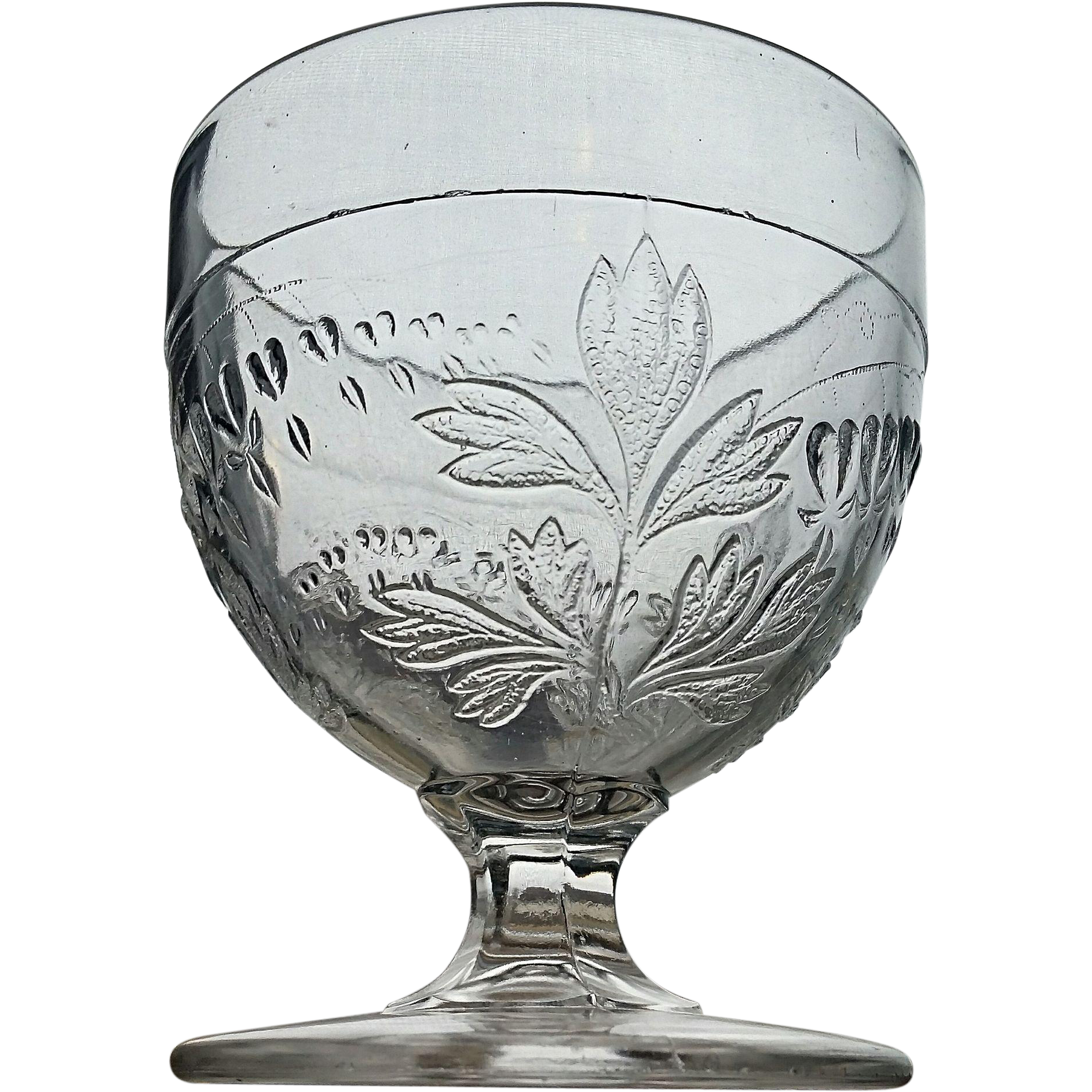 "Eapg ""Bleeding Heart"" buttermilk goblet / open sugar, King, Son & Co."